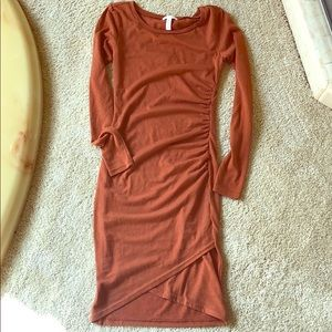 Leith ruched long sleeve dress xxs